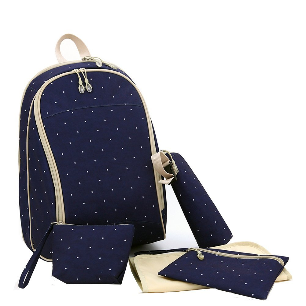 New design 5 pieces set of diaper bag :1 main backpack bag + 1 insulated bottle case +2 small accesso