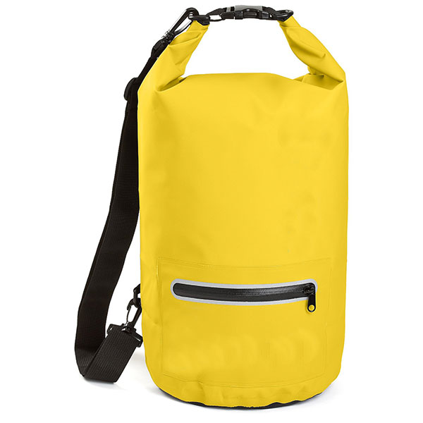 Waterproof Dry Bag with Exterior Zip Pocket Shoulder Strap and Reflective Trim